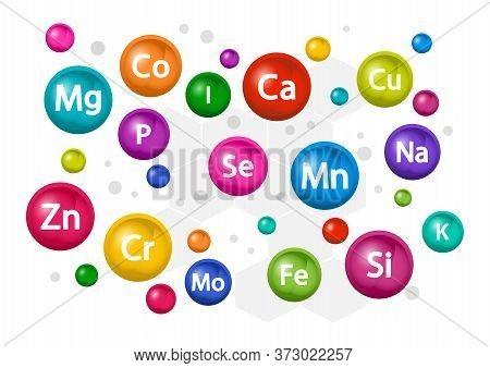 Mineral Supplement Set. 3d Multivitamin Complex For Health. Vitamin Background. Calcium Magnesium Zi