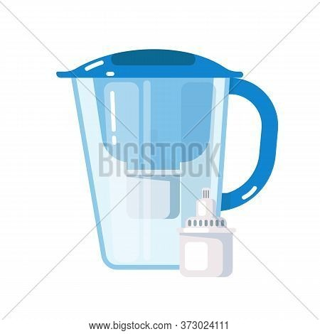 Purification System. Plastic Jug With Water Filter Mineral Cartridge Icon Isolated On White Backgrou
