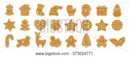Christmas Gingerbread Cookie Flat Cartoon Set. Sign New Year Sweet Gingerbread Man, Bird, Holly, Hou