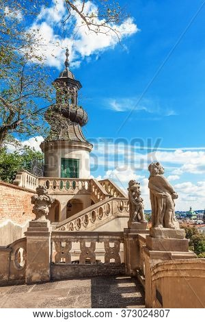 Prague - July 11: The Tower In The Upper Part Of Small Furstenberg Garden On July 11, 2017 At Prague