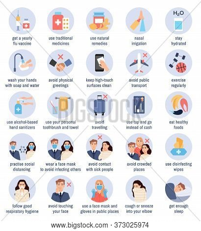 Flu Prevention Tips. Flat Health Protection Infographic Icons Set In Blue Circles On White Backgroun