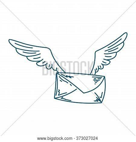 Postal Envelope. Flying Envelope With Wings. Vector Illustration Of A Postal Envelope With Wings. Ha