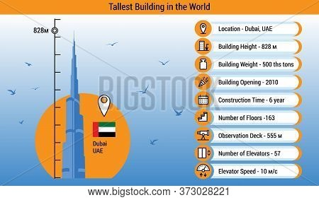 Dubai, UAE - 24 June, 2020. World\\\'s Tallest Building Infographic. Worlds Tallest Building, Vector Illustration, Flat style. Best for Web, Education, Poster, Card, Icons.