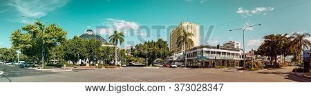 Cairns, Australia - Febreaury 13, 2020: Panoramic View Of The Abbott St. And Spence St. At The Cairn