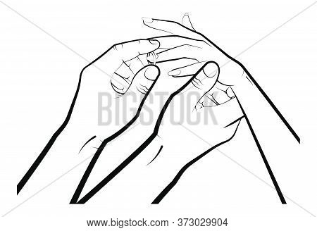 Man Puts On A Woman A Wedding Ring. Marriage, Family, Wedding Ceremony. Isolated Eyelid On A White B