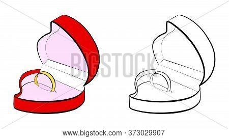Open Case In The Shape Of A Heart With A Wedding Ring. Marriage, Family, Wedding Ceremony. Isolated