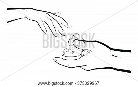 Man Holds A Case With A Wedding Ring In Front Of A Woman. Marriage, Family, Wedding Ceremony. Isolat