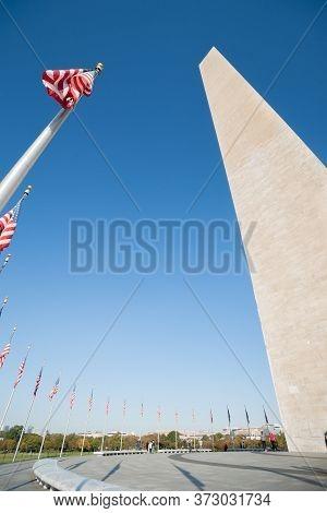 Washington Dc Usa - October 26 2014; Washington Monument Tall Obelisk In National Mall Washington Dc