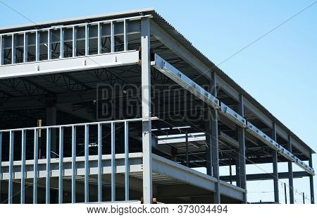 Grey Steel Construction Frame Of Commercial Building