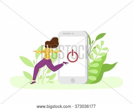 Digital Detox - Miniature Happy Girl Is Going Out From Huge Mobile Phone. Woman On Natural Landscape