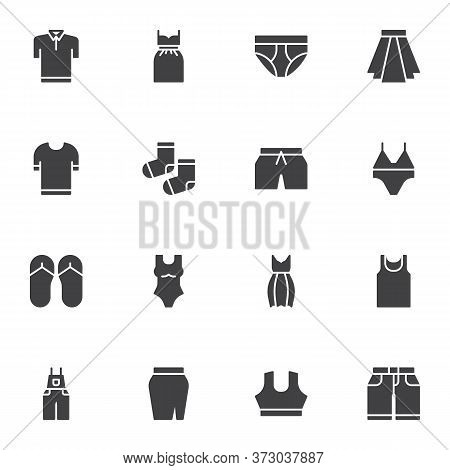 Summer Clothes Vector Icons Set, Modern Solid Symbol Collection, Filled Style Pictogram Pack. Signs,