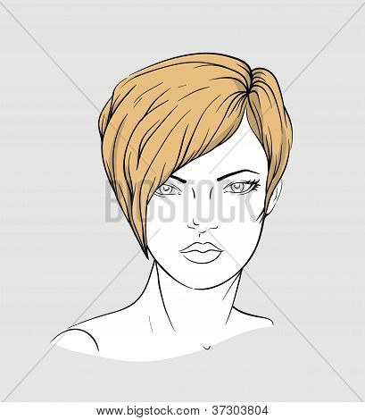 Face of a woman with short hair