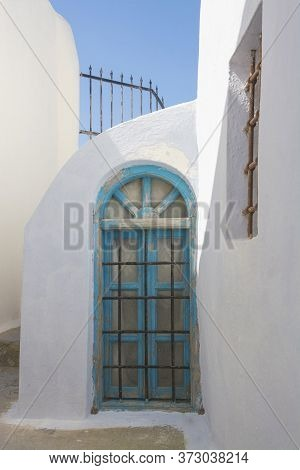 Detail Of A Whitewashed House In The Greek Island Of Santorini
