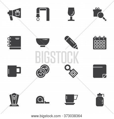 Promotional Products Vector Icons Set, Modern Solid Symbol Collection, Filled Style Pictogram Pack.