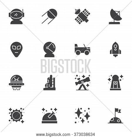 Space, Astronomy Vector Icons Set, Modern Solid Symbol Collection, Filled Style Pictogram Pack. Sign