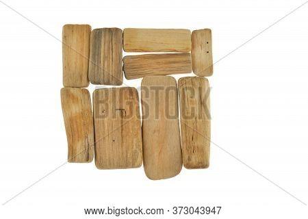Driftwood Wall Decor. Pieces Of Wood Isolated On White Background. Minimalism Style.marine Style Int