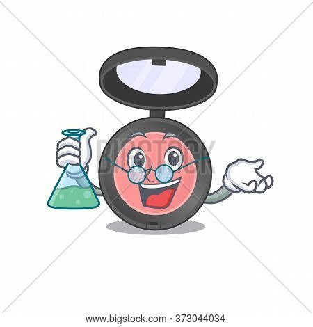 Super Genius Professor Of Pink Blusher Caricature Character Working On A Lab