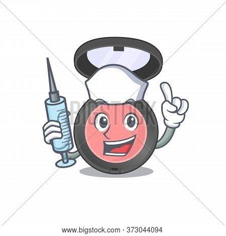 A Dedicate Pink Blusher Nurse Mascot Design With A Syringe