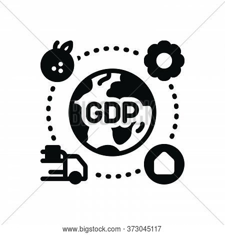 Black Solid Icon For Gdp Domestic Product Market Service Goods