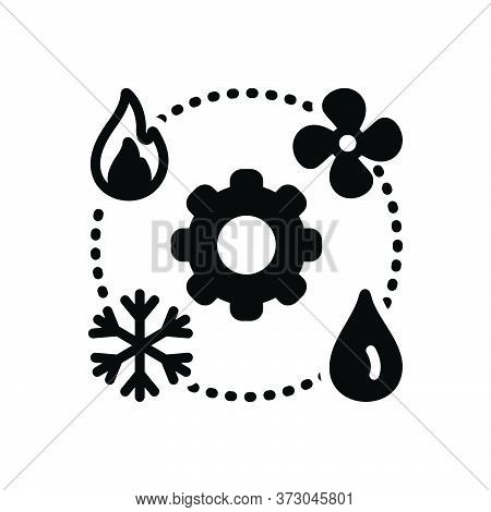 Black Solid Icon For Hvac  Technician Heating Ventilation Air-conditioning Vehicular Environmental C