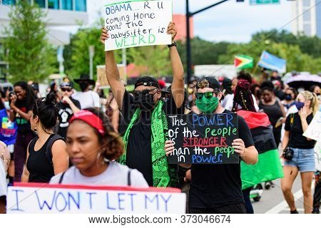 Orlando, Fl, Usa - June 19, 2020: Funny Obama Poster In A Demonstration. People And Politics. Us Pre