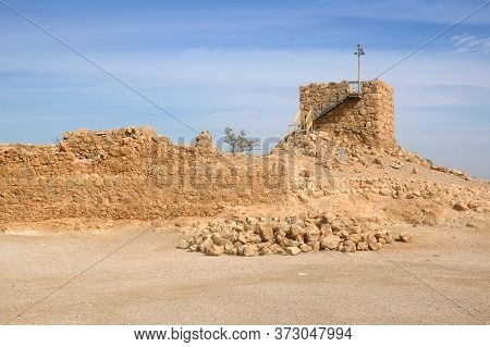 The Watchtower Is The Highest Point In The Masada Fortress, Masada National Park, Near The Dead Sea,