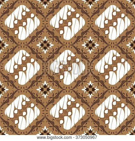 Cute Flower Motifs On Parang Batik Design With Mocca Color