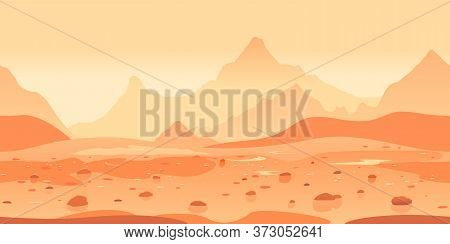 Martian Landscape Game Background Tillable Horizontally, Orange Sand Hills With Stones On A Deserted