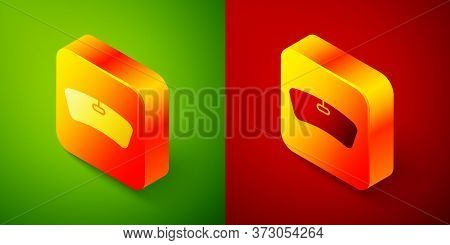 Isometric Windshield Icon Isolated On Green And Red Background. Square Button. Vector Illustration