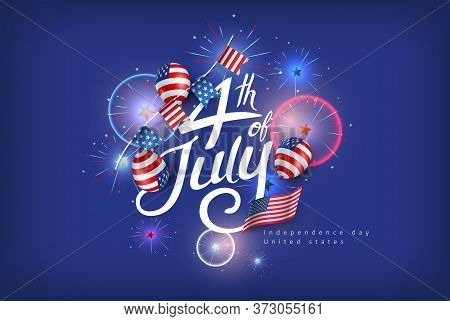 Independence Day Usa Banner Template Fireworks Decor.4th Of July Celebration Poster Template.fourth