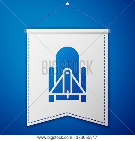 Blue Rocket Launch From The Spaceport Icon Isolated On Blue Background. Launch Rocket In Space. Whit
