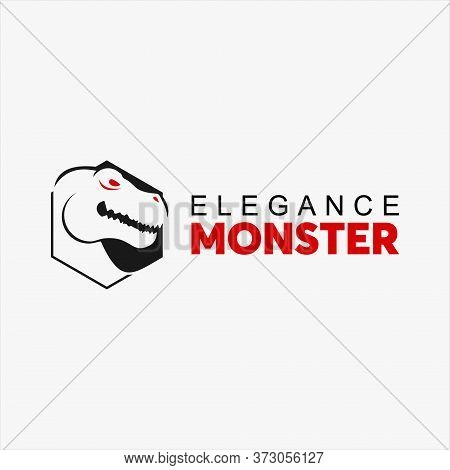 Dinosaur Logo Simple Hexagonal Tyrannosaurus Rex Head For Print Or Design Inspiration