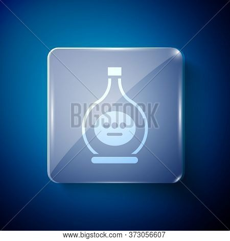 White Bottle Of Cognac Or Brandy Icon Isolated On Blue Background. Square Glass Panels. Vector Illus