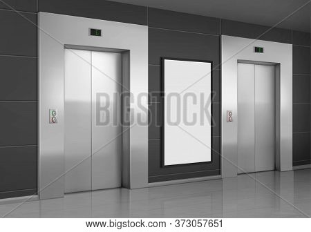 Realistic Elevators With Close Doors And Ad Poster Screen On Wall, Perspective View Mockup. Office O