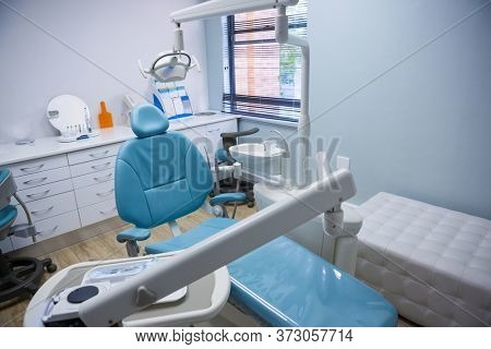 Interior of medical equipments at empty dental clinic