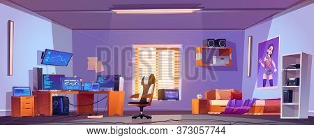 Teenager Boy Bedroom Interior, Gamer, Programmer, Hacker Or Trader Room With Multiple Computer Monit