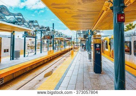 Railway Station Santa Monica, A Suburb Of Los Angeles.