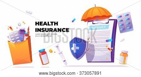 Health Insurance Banner. Vector Poster With Cartoon Illustration Of Clipboard With Claim Form, Shiel