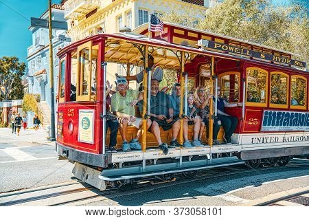Retro, Vintage And Tourist Cable Car. San Francisco, California.
