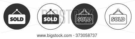 Black Hanging Sign With Text Sold Icon Isolated On White Background. Sold Sticker. Sold Signboard. C