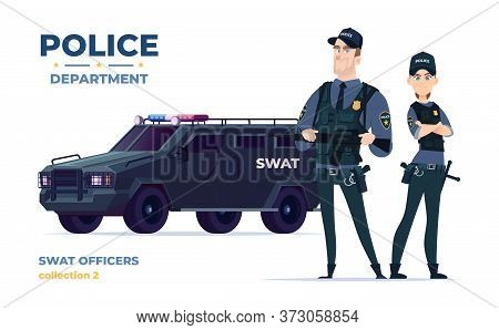 Cartoon Swat Officers Man And Woman Team In Armor. Safety Officers With Swat Car. Guardians Of Law A
