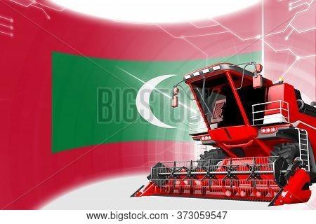 Agriculture Innovation Concept, Red Advanced Wheat Combine Harvester On Maldives Flag - Digital Indu