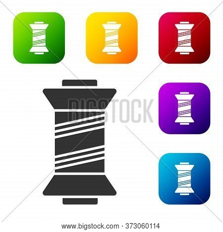 Black Sewing Thread On Spool Icon Isolated On White Background. Yarn Spool. Thread Bobbin. Set Icons