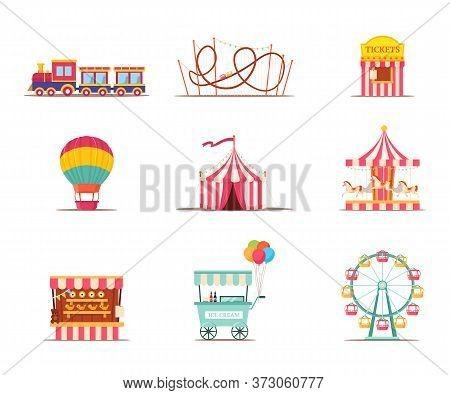 Amusement Park Attractions Illustrations Set. Merry Go Round Vintage Carousel Isolated Design Elemen