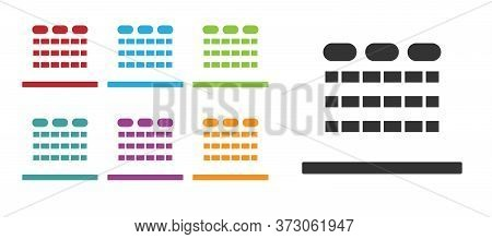 Black Cinema Auditorium With Screen And Seats Icon Isolated On White Background. Set Icons Colorful.
