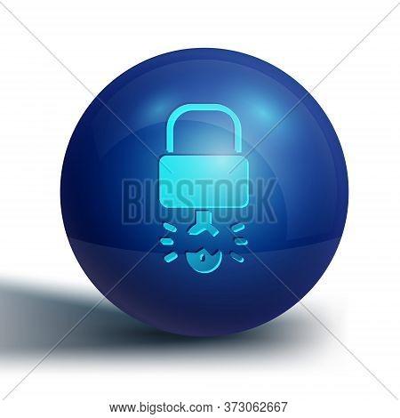 Blue Key Broke Inside Of Padlock Icon Isolated On White Background. Padlock Sign. Security, Safety,