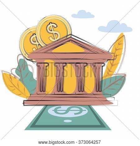 Bank Building. Banking Investment Wealth Growth Symbols. Bank Facade With Businessman Vector Cartoon