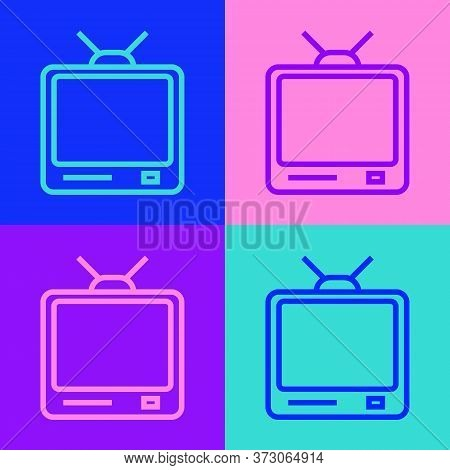 Pop Art Line Retro Tv Icon Isolated On Color Background. Television Sign. Vector Illustration