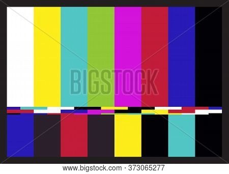Television Retro Test Pattern Of Colored Stripes. Interference On Tv. Vector.