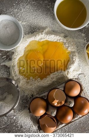 Close-up of egg yolk mixed with flour
